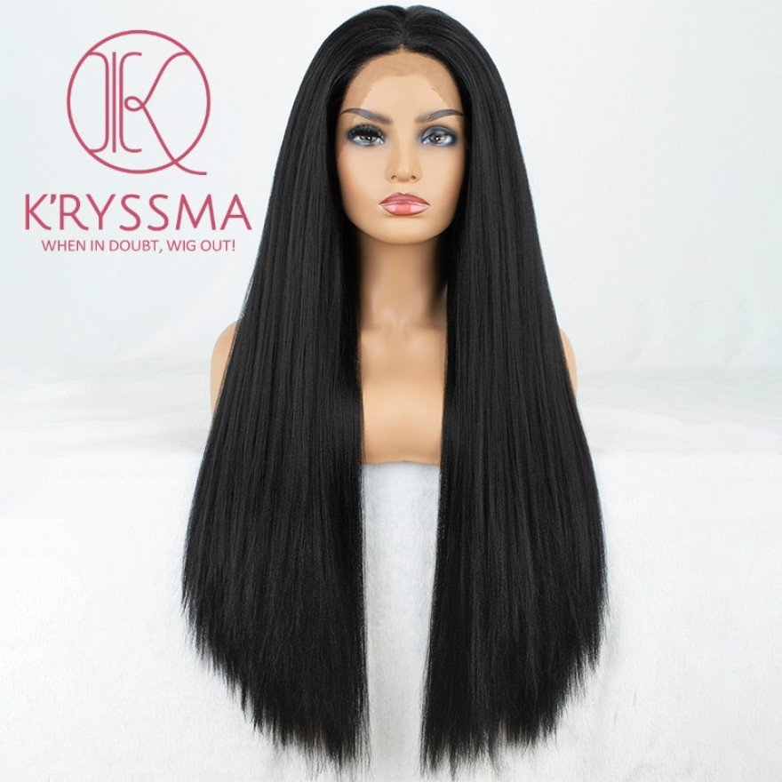 Light Yaki Natural Looking Long Black Synthetic Wigs 24 Inches