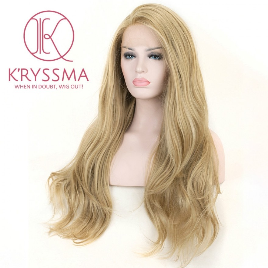 Natural Looking Ash Blonde Synthetic Lace Front Wigs 22/24/26 Inches