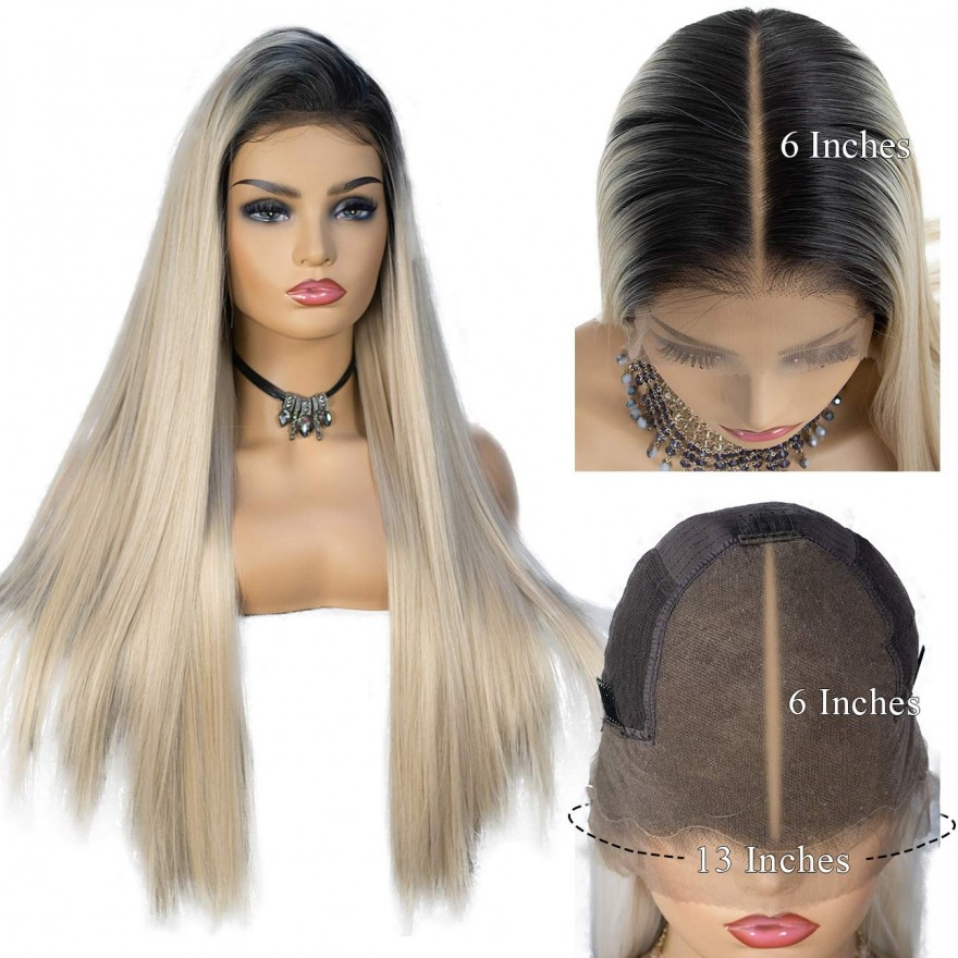 13x6 Ombre Blonde Natural Hairline Deep Free Parting Long Silk Lace Front Synthetic Wig