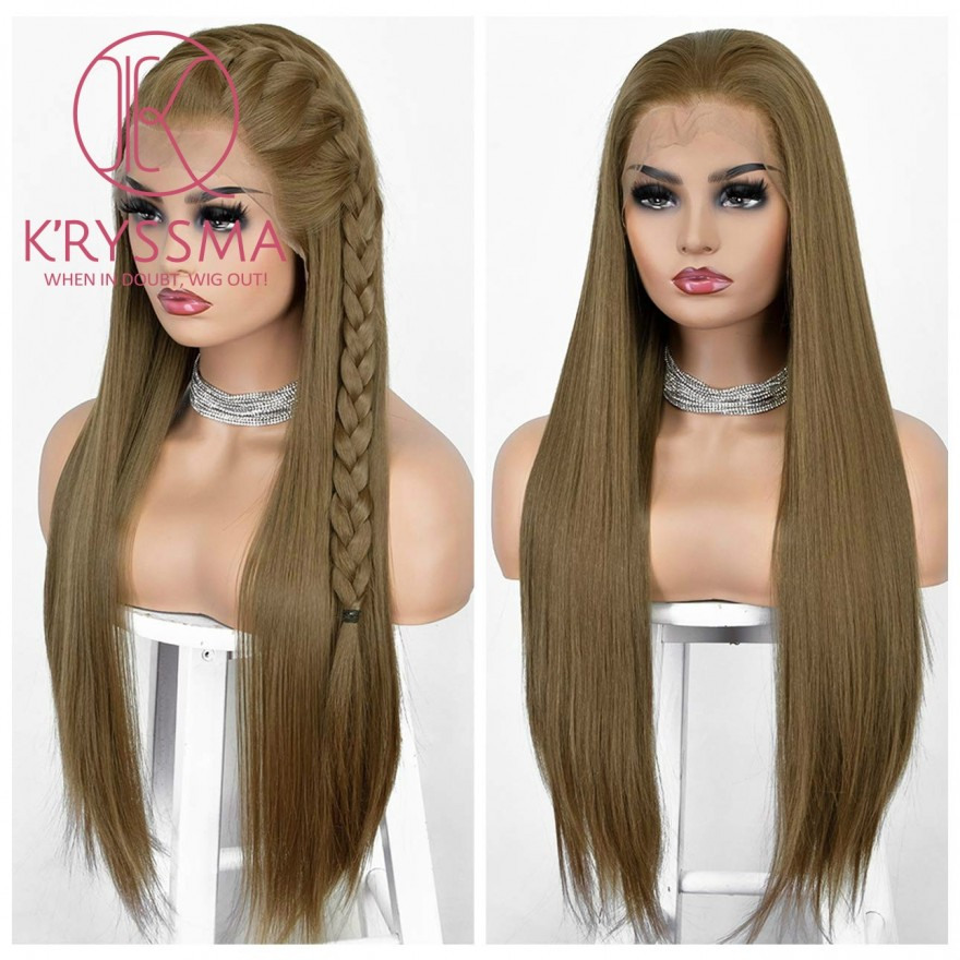 """New Arrival 13x6 Lace Front Wig Brown 6"""" Deep Free Part Straight Synthetic Wigs Natural Hairline Brown Lace Wig for Women Heat Resistant 22 Inches"""