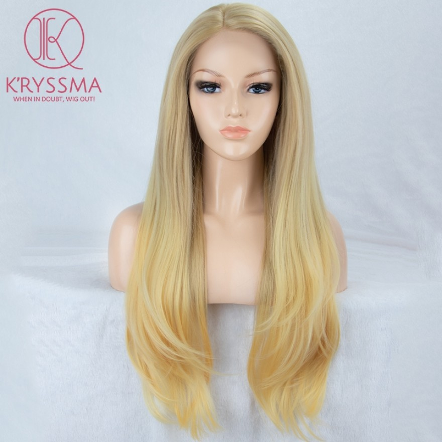 Ombre Blonde Long Natural Straight Lace Front Wig 22 inches