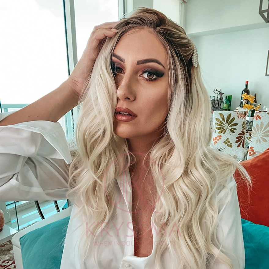 Ombre Lace Front Wig Platinum Blonde Dark Roots Long Natural Wavy Middle Parting Heat Resistant 22 inches