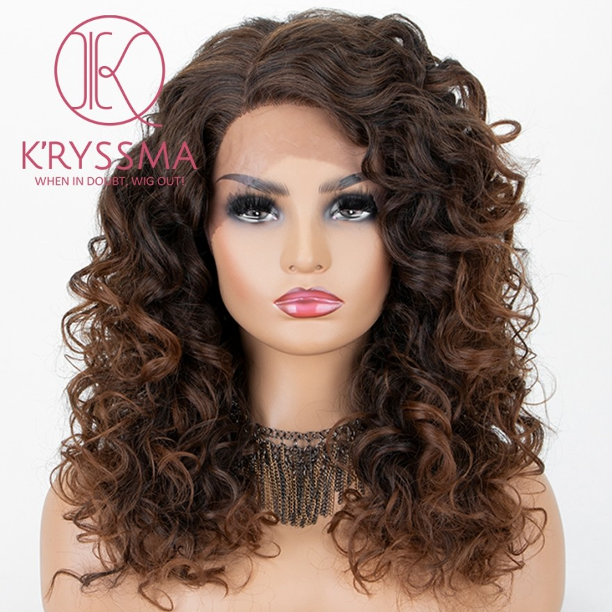 Brown Ombre Lace Front Wig With Dark Roots Medium Length Wavy Synthetic Wigs Mix Brown Wig For Women Heat Resistant