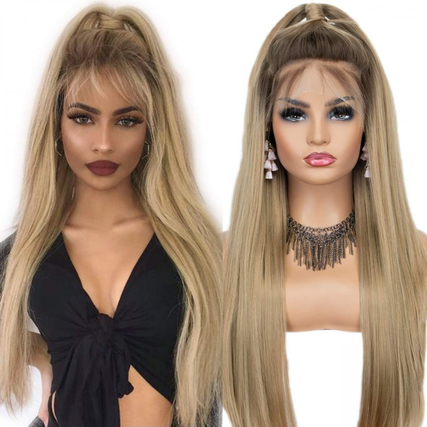 Ombre Blonde Long Silk Straight Lace Front Wig 22 Inches (T Part Version)