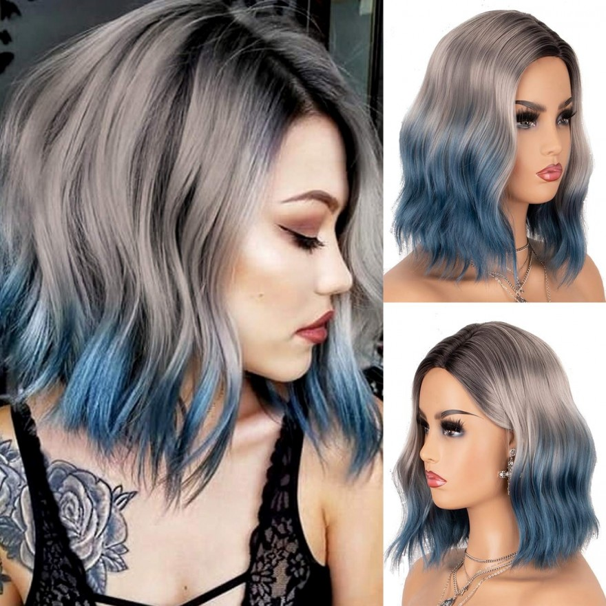 RESTOCK ON 07/20/2020! Blue Ombre Wig Bob with Dark Roots 3 Tones Short Wavy Glueless Synthetic Wigs