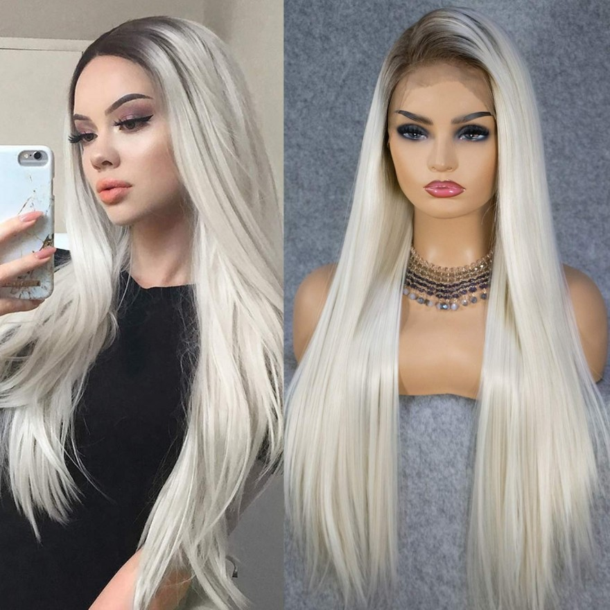 13X6 Big Lace Ombre Blonde Natural Hairline Long Silk Platinum Lace Front Synthetic Wig