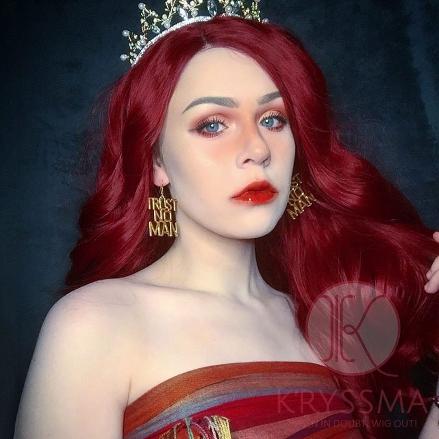 Red Long Straight Synthetic Lace Front Wig