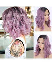 Ombre Purple Short Bob Synthetic Wigs with Dark Roots