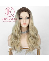 Ombre Blonde Synthetic Wig With Dark Roots 18 inches Long Wavy Wigs With Middle Parting Heat Resistant None Lace Wig