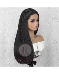 Black Natural Straight Long Synthetic Lace Front Wig
