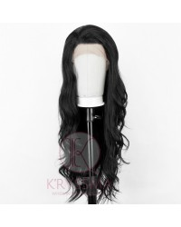 Black Long Wavy Lace Front Synthetic Wig with T Part