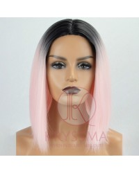 Ombre Light Pink Short Bob None-Lace Wig