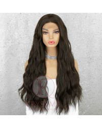 Brown Long Wavy Synthetic Lace Front Wigs