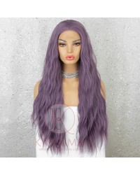 Purple Long Wavy Synthetic Lace Front Wig for Women Cosplay Wig