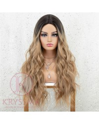 Dirty Blonde Wig with Dark Roots Ombre Long Wavy Synthetic Wig for Women 22 inches