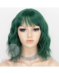 Short Green Bob Hair Wigs with Bangs Wavy Synthetic Cosplay Wig 12 Inch Natural Looking As Real Hair