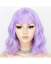 Light Purple Short Bob Hair Wigs with Bangs Violet Wavy Synthetic Cosplay Wig 12 Inch Natural Looking As Real Hair