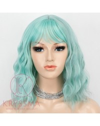 Light Green Short Bob Hair Wigs with Bangs Violet Wavy Synthetic Cosplay Wig 12 Inch Natural Looking As Real Hair