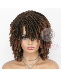 Dreadlock Twist Wigs for Black Women Braided Faux Locs Crochet Hair Wigs with Curly Ends Heat Resistant Afro Short Curly Daily Wigs 1b/30 Color