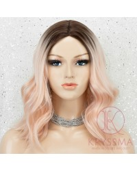 K'ryssma Bob Wig Ombre 2 Tone Dark Roots to Light Orange Synthetic Wig Middle Part Wavy Short Wig Heat Resistant