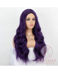 K'ryssma Synthetic Purple Wig with Middle Parting Long Wavy Wig 22 Inches Dark Purple Cosplay Wigs for Women