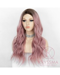 K'ryssma Ombre Pink Wig with Dark Roots Women Fashion Long Wavy Ombre Pink Synthetic Wig 22 inches