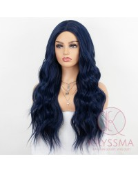 K'ryssma Dark Blue Wig with Middle Parting Long Wavy Synthetic Wig for Women Long Wavy Cosplay Wigs 22 Inches