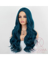 K'ryssma Wavy Blue Wig with Middle Part Fashionable Peacock Blue Wavy Long Syntheic Wig for Women 22 Inches