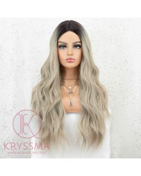 K'ryssma Ash Blonde Wig Dark Roots Ombre Synthetic Wigs for Women Long Wavy Ombre Blonde Wig with Middle Part 22 Inches
