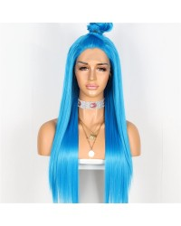 Long Straight Blue Lace Front Wig for Halloween, Cosplay Wig