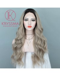 Ash Blonde Long Wavy Dark Roots Synthetic Wigs 22 Inches