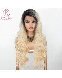 #613 Ombre Blonde Lace Front Wig with Dark Roots Natural Wavy Long Synthetic Wigs