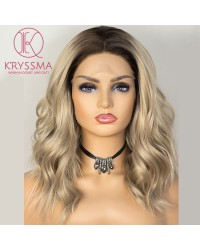 Olivia Recommend: Ombre Blonde Lace Front Wig Bob Short Wavy Synthetic Wig with Middle Parting Dark Roots to Blonde Ombre Wig Heat Resistant