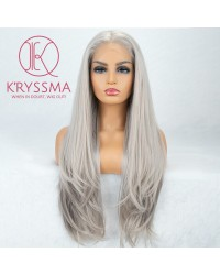 Siver Gray Long Natural Straight Synthetic Wig 22 inches
