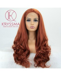 #360 Copper Red Long Wavy Free Parting Synthetic Wigs 20/22/24/26 inches