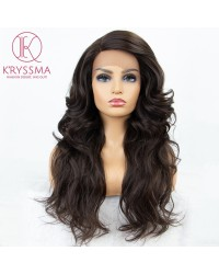 Brown Wavy Synthetic Wig 20 Inches Medium Length L Part Lace Wigs with Right Side Parting