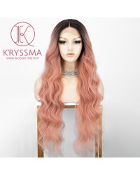 Ombre Orange Pink Lace Front Wig with 2 Tones Long Synthetic Wigs Heat Resistant 28 Inches Deep Middle Part Wavy Lace Wig for Cosplay