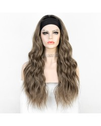 K'ryssma Dark Root Omber Highlight Brown Long Wavy Heat Friendly Fiber Hair Synthetic Headband Wig