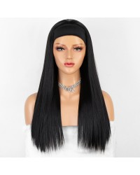 K'ryssma Natural Black Straight Heat Friendly Fiber Hair Synthetic Headband Wig