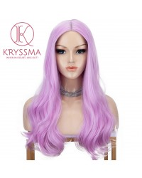 Pink Synthetic Long Wavy Wig Middle Part Heat Resistant 18 Inches