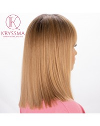 Ombre Blonde Short Bob Synthetic None-Lace Wig with Bangs