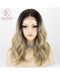 Ombre Blonde Middle Length L Part Lace Wigs with Dark Roots Daily Wear Synthetic Wigs