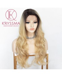 Ombre Blonde Lace Front Wig With Dark Roots Long Wavy Synthetic Wig Glueless Heat Resistant Wigs