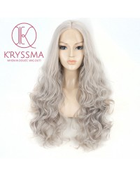 Ash Gray Body Wave Synthetic Lace Front Wigs 22 inches