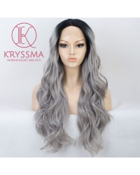 Ombre Silver Grey Long Wavy Lace Front Wigs 22 Inches
