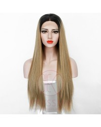 NEW ARRIVAL Blonde Mixed Ombre Brown Long Straight Lace Front Wig