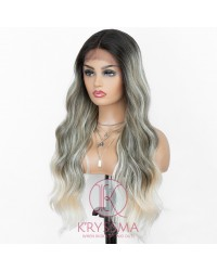 Ombre Gray With Ash Blonde Highlight Synthetic Wig Long Wavy Lace Front Wig 4 Tones with Middle Parting Most Natural Look