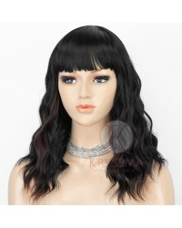 Natural Black Wavy Bob Wigs with Bangs Heat Resistant Synthetic Wigs with Natural Looking