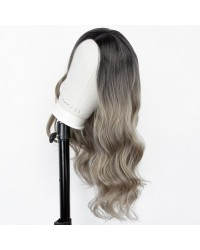 Ombre Blonde Wig with Dark Roots 18 inch Long Wavy Synthetic Non-Lace Wig