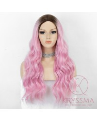 K'ryssma 2 Tones Ombre Bright Pink Synthetic Wig Glueless Middle Part Long Wavy Wig Heat Friendly Bright Pink Wigs for Women Cosplay